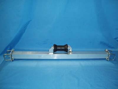 """BRA-65; 4' Cross Tube Assem w/ 8"""" keel roller. (Note; 36"""" w/ 5"""" shown)"""