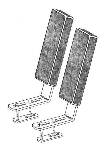 Bunk Guide-Ons, T-916; 16 inches long, Vertical, Drawing