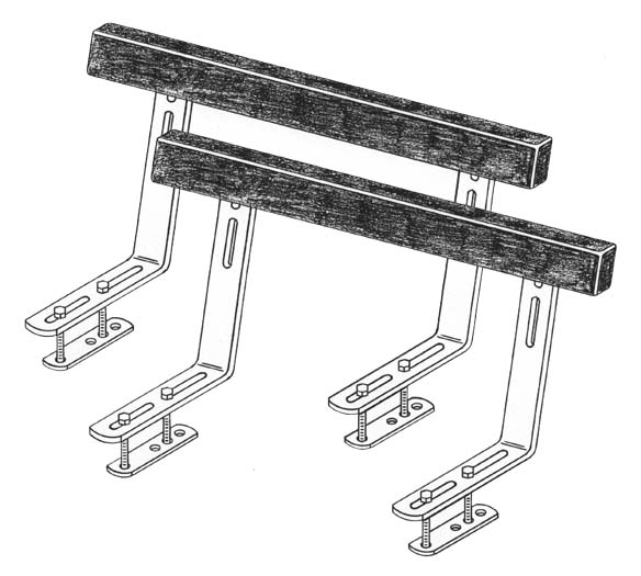 Boat Trailer Bunk Guide-Ons, T-948; 4' Bunks model, Drawing
