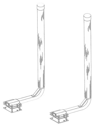 Boat Trailer Post Guide-Ons, T-965-G; GALVANIZED, 65 inch Tall model, Drawing