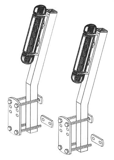 Boat Trailer Roller guide ons, T-910; Side Mount model, Drawing