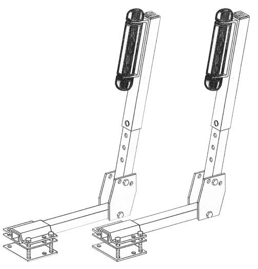 Boat Trailer Roller Guide-Ons, T-930; 3-Way Adjustable, Drawing