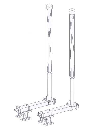 Post Guide-Ons, T-967; HEAVY DUTY, 7-1/2 ft. Tall, Drawing