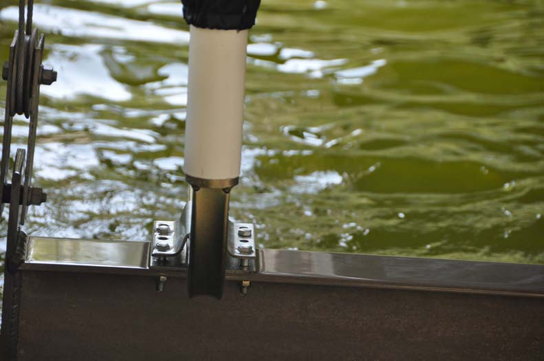 """T-965; 65"""" Post Guide-On mounted on Boat Lift/Hoist (close up)(1)."""