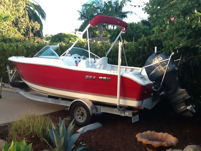 "T-965-G; Galvanized 65"" Post Guide-On mounted on Boat (Customer Photo.)(1)."