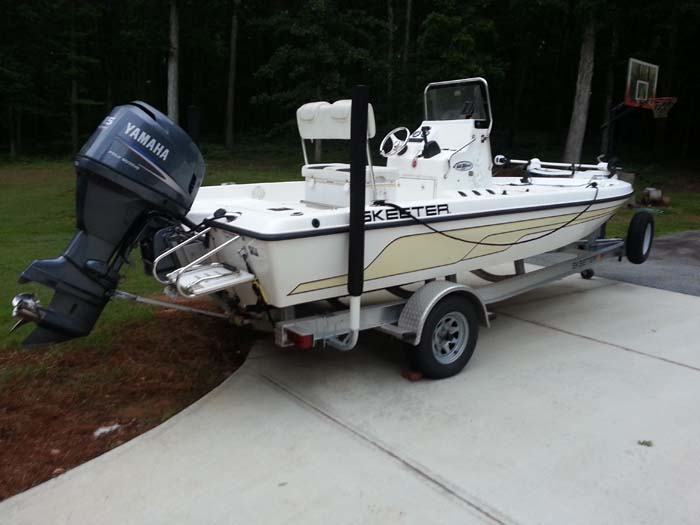 "T-965-G; Galvanized 65"" Post Guide-On mounted on Boat (Customer Photo.)(2)."