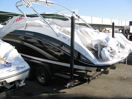 """T-965; 65"""" Post Guide-On mounted on Boat (Customer Photo.)(3)."""
